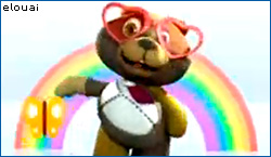 Psycho teddy bear dancing with rainbow in background