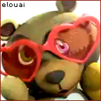 Psycho teddy bear blushing with red heart shaped sunglasses