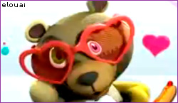 Psycho teddy bear with heart shaped sunglasses and a kawaii heart in background